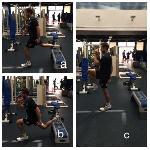 Figure4: Bulgarian split squat (a & b) with progressive knee drive added later (c)