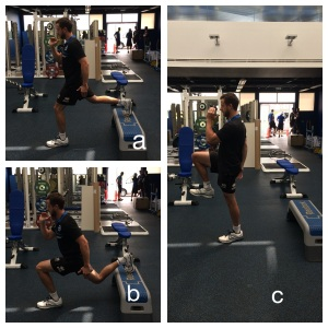 Figure4: Bulgarian split squat (a & b) with progressive knee drive added later (c)
