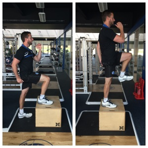 Figure 6: a) Low box step up with knee drive