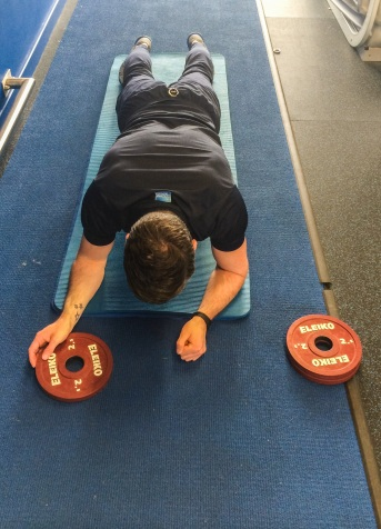Anti-rotation plank variation with weights